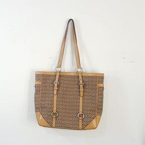 Coach Signature Tan Gallery Logo Tote Bag Purse